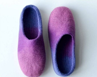 Summer Sale Handmade wool felted slippers - pink - purple - levander