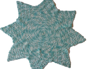Large variegated aqua vintage crochet doily dream catcher doily