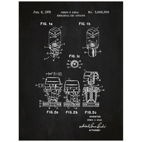 Mechanical key actuator technology and gadgets patent mechanical key actuator technology and gadgets patent poster blueprint style screen print hand made wall art in multiple colors malvernweather Images
