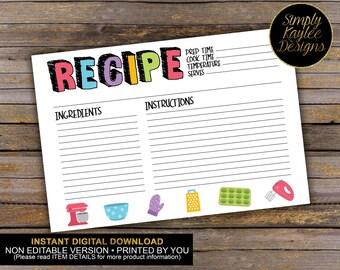 INSTANT DOWNLOAD Fun Rainbow Baking Recipe Cards