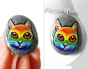 Rainbow Cat Pendant, Pet Necklace, Colorful Art, Original Painting, Hand Painted Pebble, Stone Keepsake, Cat Owner Gift, Animal Jewelry