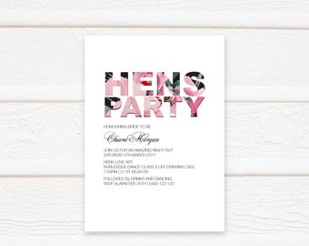 Floral Hens Night Invitation Printable, Hens Night, Bachelorette Party, Printable, Invitation