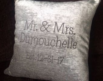 Personalized Chenille Pillow Cover, Wedding, Engagement, Housewarming, Couple, Mr. & Mrs., Gift, Custom, Embroidery, Pillow Insert, Custom