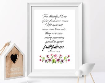 Bible Verse printable,  The steadfast love of the Lord, Lamentations 3:22-23, Christian wall art, Scripture Printable, Floral Wall art