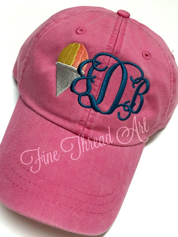 92ed96c56188c LADIES Snow Cone Monogram Baseball Cap Hat LEATHER strap Mom