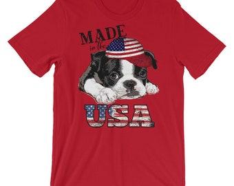 Boston Terrier Shirt, Patriotic Shirt, Dog Shirt, Adult Short-Sleeve Unisex T-Shirt