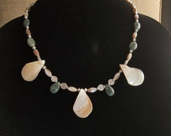 Mother of pearl  teardrop shaped drops and jade accent beads
