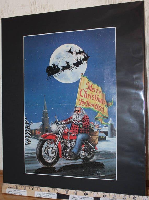 """David Mann """"Christmas Card"""" 16'' x 20'' Matted Biker Art #8801ezrxmb"""