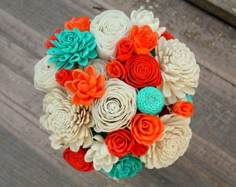 Sola flower bouquet, wedding bouquet, teal wedding flowers, wood flower bouquet, orange and aqua eco flowers, sola wood flowers, ecoflower