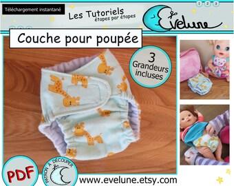 Couche pour poupée PDF/ Français / Jouet / Poupée / Enfant / Tutoriel / Couture / Patron / Tissu / Bébé / DIY