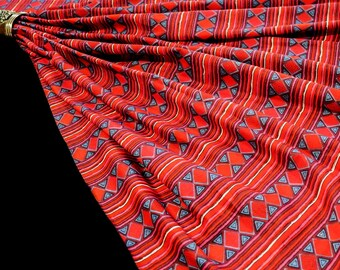 Red Blue Geometric Print Fabric