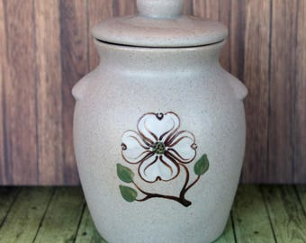 Vintage Pigeon Forge Pottery Condiment Jar with Lid Dogwood Pattern Small Crock Grey with White Flower Tennessee Made