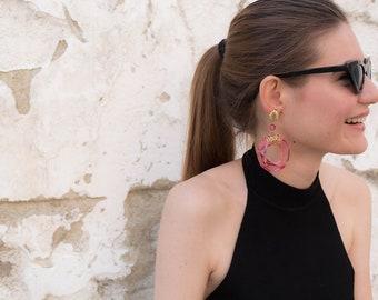Lucite Hoop Earrings / Vintage 80s Hoop Earrings / Avant-Garde Lucite Earrings / Dead-Stock Earrings / Transparent Earrings / Clear Earrings