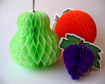 set of three paper honeycomb fruits -orange, pear and grapes-
