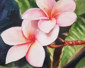Plumeria Original Watercolor Painting, Tropical Flower Painting, Handmade ART, Framed painting, Plumeria Flower,  Home Decor, Hawaiian art