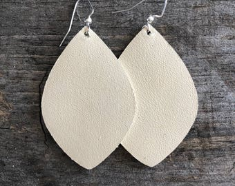 Ivory Leather earrings