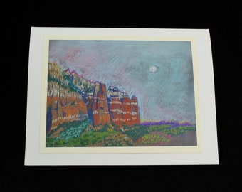Sedona Landscape Note Card, Lee Mountain, Plein Air Pastel by Karlene Voepel