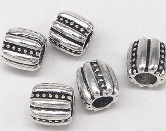 8pcs-10mmX10mm silver tone big hole metal beads
