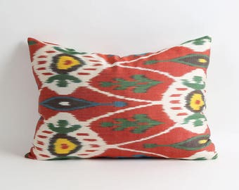 Ikat pillow cover, Double side silk ikat pillow, Handwoven fabric 14x20 inch