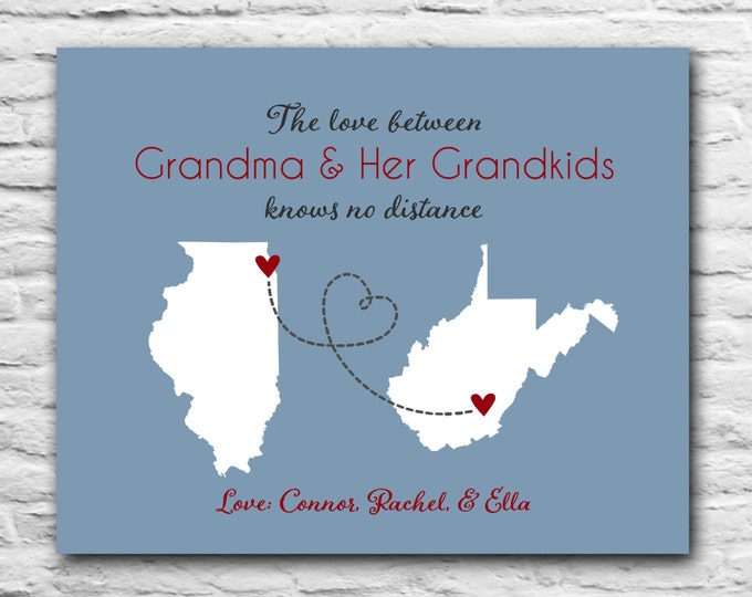 Gift for Grandma, Long Distance - Grandparents, Grandmother Gift for Mother in Law Christmas Gift for Grandma Personalized Maps State Mom