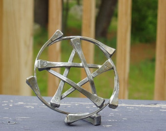 Horseshoe Nail Pentacle Table Sculpture / Statue aka Pentagram