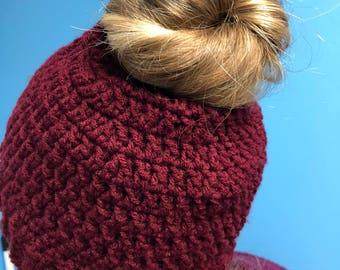 Messy bun crochet hat adult