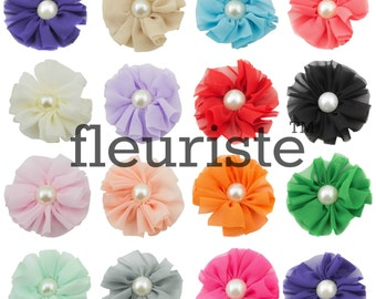 "Ballerina Flower, Chiffon Flower, Wholesale Flower, Fabric Flower, Headband Flower, Flower Embellishment,  DIY Flower, 2.5"", Emerald, 3 Pcs"