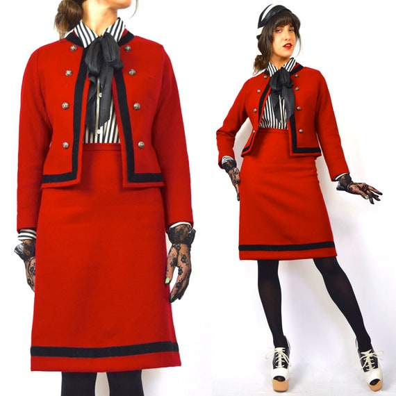 Vintage 60s Red Wool and Black Velvet Trimmed Austrian Made Cropped Jacket with High Waisted Pencil Skirt 2 Piece Suit (size xs)