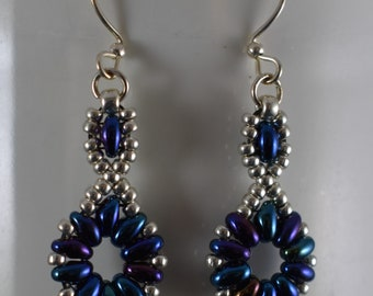 Blue Flower Chain Earrings