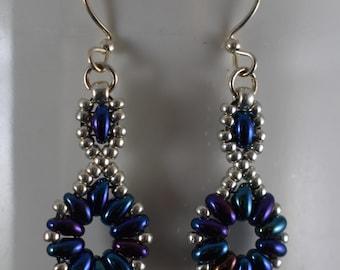 Blue Flower Chain Earrings
