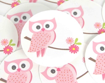 Stickers Envelope Seals Pink Owls Owl Stickers - set of 24