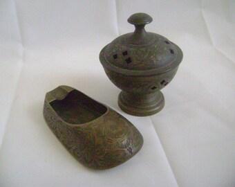 Vintage Incense Burner, Brass, Slipper Shoe & Ash Tray, Made in India