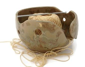 Slotted Yarn Bowl, Crochet Bowl, Knitting Holder , Ceramic Crystalline Glazed, Pale Green and Beige, Knitters Gift,