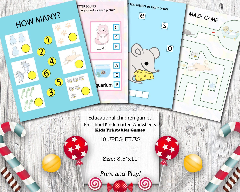 Cats Educational printables games for preschool kids Motor