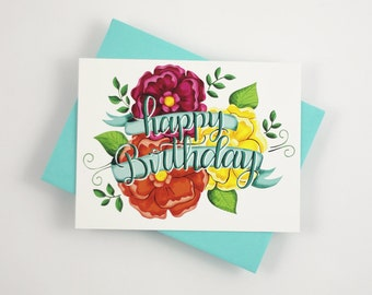 Happy birthday - one card with a turquoise envelope