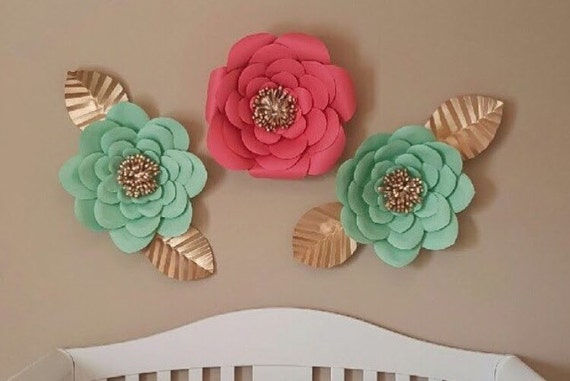 Set of 3 paper flowers coral and mint with gold mightylinksfo
