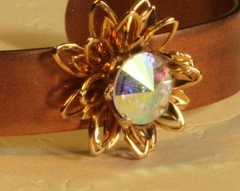 Triple petals- crystal, copper, gold cuff