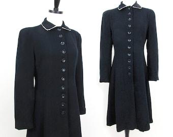 1940s black wool coat - slimmed waist, flared skirt, shoulder pads - Sm