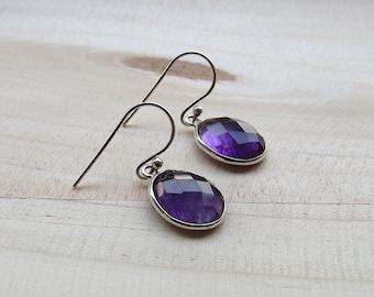 Amethyst Sterling Silver Dangle Earrings, Gemstone Jewelry, 925 Sterling Silver Earring, Purple Earrings
