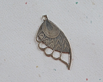 Butterfly Wing Pendant, Antiqued Silver Brass Fairy Wing, 37x20mm, 1 Piece