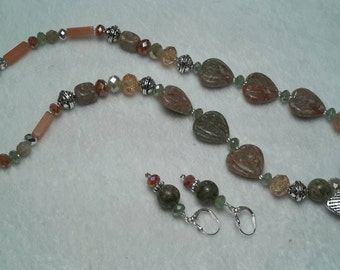 Autumn Jasper Hues with Silver Flower Pendant