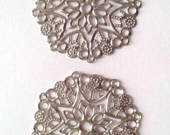 Set of 10 pinwheel bead caps - silver - 35 mm T 12 pendants