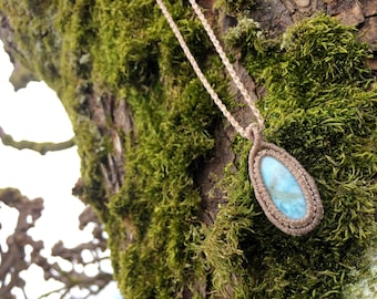 Rara Larimar gemstone pendant macrame necklace light blue gemstone. Healing crystal jewelry pisces crown chakra third eye. Everyday wear