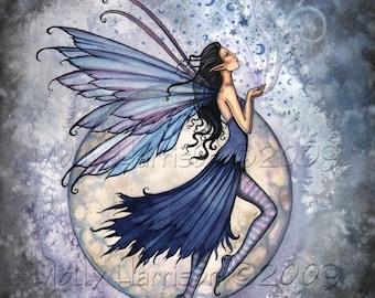 Fairy Fine Art Fantasy Print by Molly Harrison 12 x 16 'Midnight Blue'