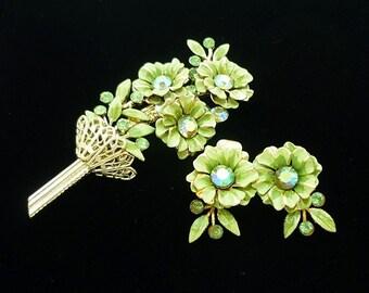 SIGNED Coro Green Brooch Earrings Set, Green Brooch, Antique Jewelry Set, Coro Jewelry, Antique Brooches, Enamel Brooch, Coro Demi Parure