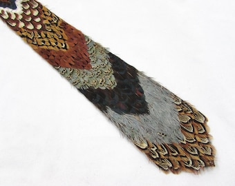 "Vintage Pheasant Feather Necktie - 18.25"" x 3"" Novelty Tie -  1950s-60s"