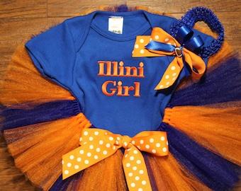 Illinois, Illini, baby shower gift, new baby gift, baby girl gift, orange, blue, baby tutu, bodysuit, baby headband, baby girl, football