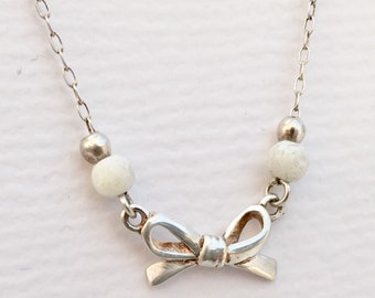 Sterling Silver Bow, Bead & Mother of Pearl Necklace