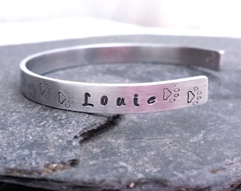 Paw Prints Bracelet // Silver Cuff // Hand Stamped Memorial Jewelry // Personalized Gift
