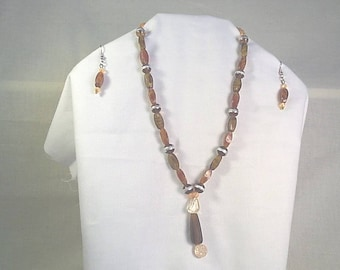 Brown Tiger Eye Necklace Set
